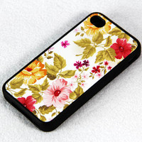 Classy Floral Print iPhone 4 iPhone 4S Case, Rubber Material Full Protection