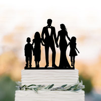 bride and groom Wedding Cake topper with child, family silhouette wedding cake topper with boy and two girls cake topper