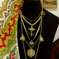 Portugal Viana heart folk jewelry necklace crucifix Portuguese filigree pendant gold tone heart rhinestones