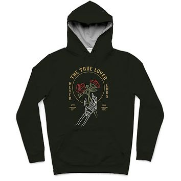 The True Lover Trendy All-Over Print Solid Rangoon Green Hoodie