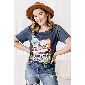 Rodeo Tonight Only Marquee Sign Graphic Tee