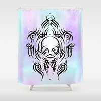 Alien Tribal Tattoo Shower Curtain by Chobopop