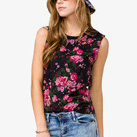 Distressed Rose Muscle Tee