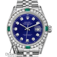 Women's Rolex Datejust 31mm Steel Blue Emerald Diamond dial Watch With A track