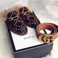 GUCCI Hot Sale Plush Embroidered Letter Ladies Toe Shoes Slippers Sandals Couple temperament belt