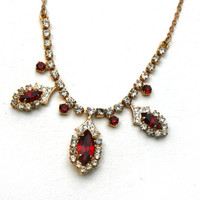 Stunning Gold Necklace with Red Gemstones and Diamantes