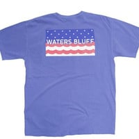 Waters Bluff Stars and Waves Short Sleeve Tee- Flo Blue