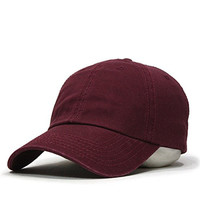 Classic Washed Cotton Twill Low Profile Adjustable Baseball Cap (Maroon)