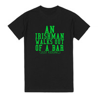 AN IRISHMAN WALKS OUT OF A BAR