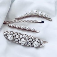 Fashionable Girls Women Delicate Sweet Pearl Hairpin Set Edge Clip