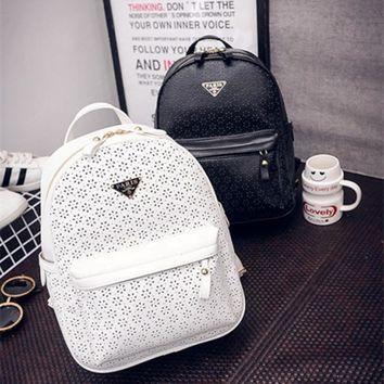 Hollow flowe backpack White black fashion high quality backpacks women pu leather hand bags small backpack for girl travel bags