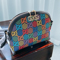 Gucci 2020 New Jumping Candy Collection Shell Marmont One Shoulder Shell Bag Makeup bag Wash Bag Black