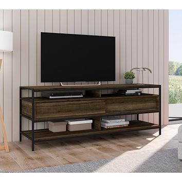 "58"" Wooden TV Stand with 2 Drawers, Brown and Black By The Urban Port"