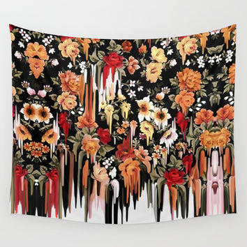 Free Falling, melting floral pattern Wall Tapestry by Kristy Patterson Design