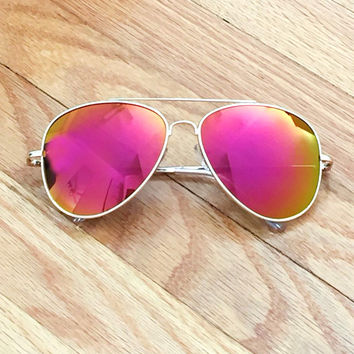 Pink Mirror Lens Aviator Sunglasses