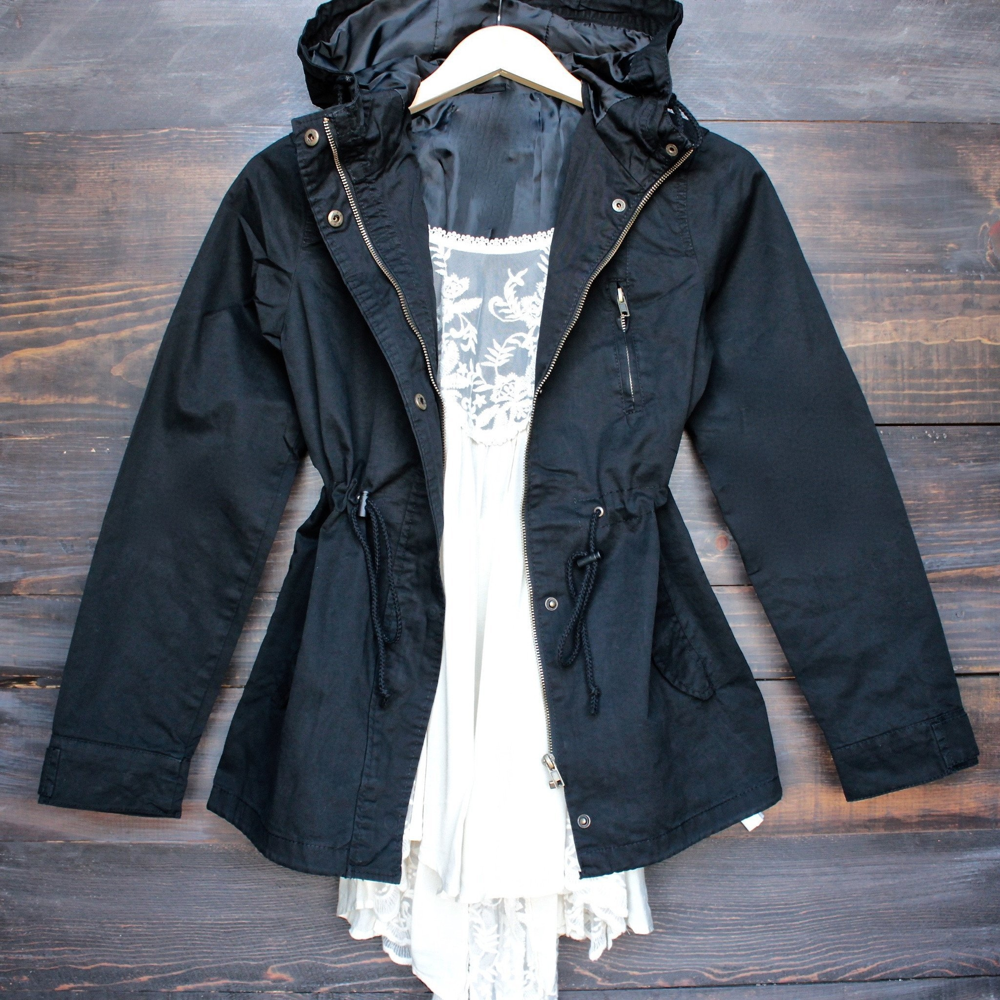 Image of Womens Hooded Utility Parka Jacket with Drawstring Waist in Black