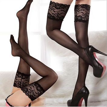 Sexy Women's Lace Stockings Lady Fashion Transparent Stocking Sheer Lace Top Thigh High Sexy Lingerie 8 Colors