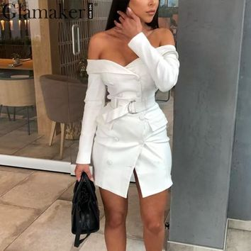 Glamaker Sexy white off shoulder belt blazer dress Women party long sleeve bodycon dress Fashion elegant club female short dress
