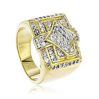 Men's Goldtone Iced Out Square & Diamond Shapes Finger Ring Sizes 7-12