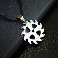 Fashion Stainless Steel Pendant Leather Chain Necklace jewelry for men women Vintage Skull Star Flame Silver Pendant Women Gift