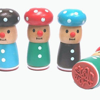 The 3 Mushroom Men Wooden Rubber Stamps - Made With Love, Bee Happy and I Love You
