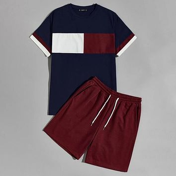 Fashion Men Colorblock Tee and Drawstring Waist Floral Print Shorts Casual Set