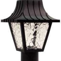 Colonial Style Post Top Light With Clear Flemish Lenses, Uses One 60 Watt Incandescent Bulb, Black