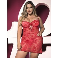 Sexy Sheer Lace Plus Size Babydoll Lingerie