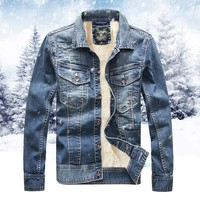 Trendy Denim Jacket With Fur For Men High Quality Fashion Mens Jeans Jackets And Coats Bomber Jacket With Faux Leanther Fleece AT_94_13