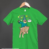Its Magic! (wizard Riding A Kitten)-Unisex Grass T-Shirt
