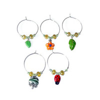 Flower Garden Wine Charm Set
