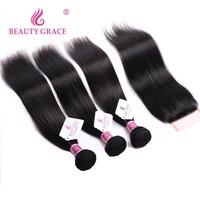 Brazilian Straight Hair Bundles With Closure Non Remy Human Hair 3 Bundles Brazillian Hair Weave Bundles With Closure 4pc/lot
