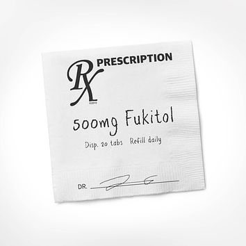 """Fukitol Rx Cocktail Napkin   Funny Sweary 5"""" Square Party Napkins Pack of 20"""
