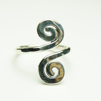 Curly ring - sterling silver wire gauge 16 - handmade hammered
