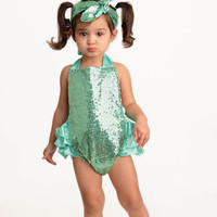 Mint Green Sequin Sparkle Baby Bubble Ruffle Romper Sun Suit & Headband Set