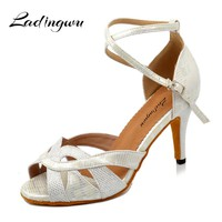Ladingwu Woman Latin Dance Shoes Black/White Glitter and PU Sandals For Dance Shoes For Ballroom Dancing Heel For Women 5cm