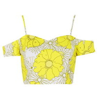 Bright Floral Print Strappy Bardot Top - Yellow