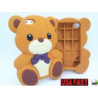 3D Brown Cute Teddy Bear Soft Silicone Case Cover for iPhone 5
