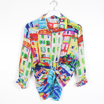 Vintage 90s Blouse SILK Venice Italy Rainbow Watercolor Style Print 1990s Shirt Long Sleeve Michael Leu Novelty Print Signed Top L Large