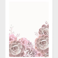 «succulents in blush pink» Art Print by Jace Anderson - Numbered Edition from $24.9 | Curioos