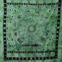 Green Astrology Tapestry, Hippie Tapestries Indian Zodiac Bedspread Bed Cover Throw Boho Wall Hanging Queen Hippie  Bohemian Wall Decor