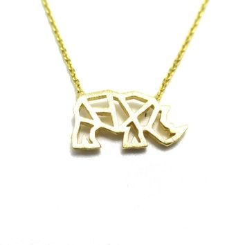 Rhino Rhinoceros Outline Shaped Pendant Necklace in Gold | DOTOLY