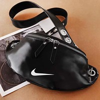 NIKE New fashion hook print leather chain shoulder bag crossbody bag Black