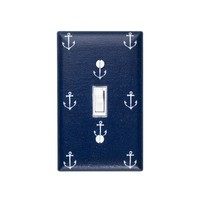 Navy Anchor Light Switch Plate