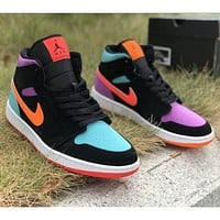 NIKE Air Jordan 1 LOW men's and women's mid-cut black mandarin duck color hook sneakers Shoes