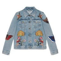 Indie Designs Gucci Inspired Butterfly Applique Embroidered Denim Jacket