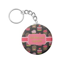 Cute Pink Lime Green Cupcakes on Brown Basic Round Button Keychain