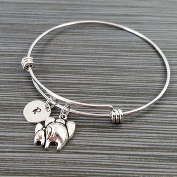 Elephant Bangle Bracelet - Elephant Bracelet - Expandable Bangle - Mother Daughter Charm Bangle - Initial Bracelet - New Mom Bracelet
