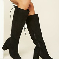 Faux Suede Tall Lace-Up Boots
