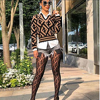 Fendi autumn and winter trend women's long-sleeved sweater + stockings